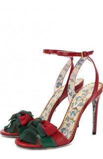 Кожаные босоножки с бантом на шпильке Gucci