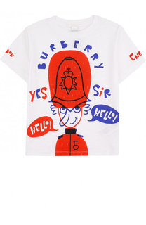 Хлопковая футболка с принтом Burberry