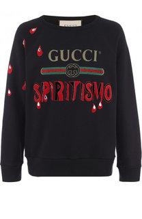 Хлопковый свитшот с аппликацией Gucci