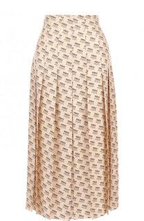 Шелковая юбка-миди с логотипом бренда Gucci