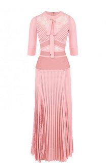 Приталенное платье-миди с плиссированной юбкой и кружевной отделкой Elie Saab
