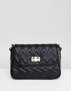Стеганая сумка через плечо с зигзагообразным узором ASOS DESIGN - Черный
