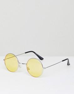 Круглые очки с желтыми линзами 7x - Золотой