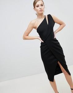 Платье миди на одно плечо с запахом Lavish Alice - Черный