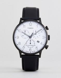 Классические часы с хронографом и черным кожаным ремешком Timex TW2R72300 - Черный