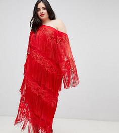 Платье миди на одно плечо с бахромой ASOS EDITION Curve - Красный