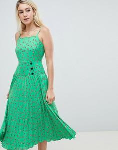 Плиссированное платье миди с заниженной талией и цветочным принтом ASOS DESIGN - Мульти