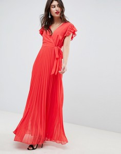 Платье макси с расклешенными рукавами ASOS DESIGN - Красный