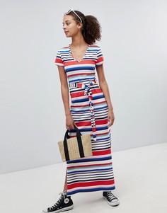 Платье-футболка макси в полоску с V-образным вырезом New Look - Белый