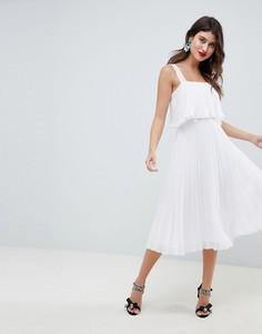 Плиссированное платье миди ASOS DESIGN - Белый