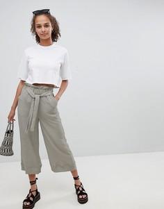 Фактурные брюки с поясом New Look - Зеленый