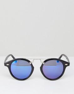 Круглые солнцезащитные очки с синими зеркальными стеклами 7x - Черный