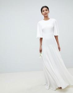 Платье с открытой спиной и расклешенными рукавами ASOS EDITION Wedding - Белый