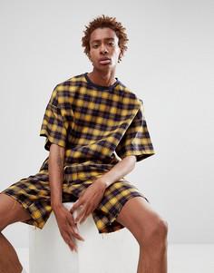 Oversize-футболка в клетку ASOS DESIGN - Желтый