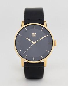 Часы с черным кожаным ремешком Adidas Z08 District - Черный