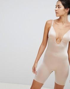Корректирующее боди-шорты с глубоким вырезом на спине Spanx Suit Your Fancy - Бежевый