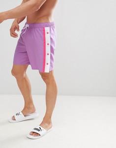 Шорты для плавания средней длины на кнопках (сиреневый/розовый) ASOS DESIGN - Фиолетовый
