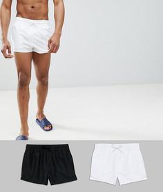 2 пары коротких шортов для плавания черного/белого цвета ASOS DESIGN - Скидка - Мульти