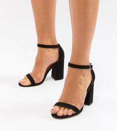 Босоножки для широкой стопы на блочном каблуке London Rebel - Черный