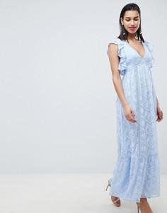 Платье макси с вышивкой и оборками Forever New - Синий
