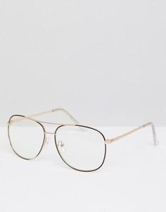 Розово-золотистые очки-авиаторы с коричневой отделкой и прозрачными стеклами ASOS DESIGN - Золотой