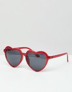 Красные солнцезащитные очки в форме сердечек с блестками ASOS DESIGN - Красный