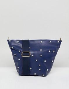 Темно-синяя сумка через плечо с заклепками в форме звезд London Rebel - Темно-синий