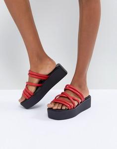 Красные кожаные сандалии на платформе с ремешками Vagabond Bonnie - Красный