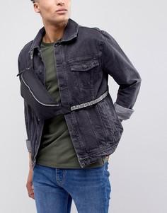 Черная сумка-кошелек на пояс с вышивкой на ремешке ASOS DESIGN - Черный