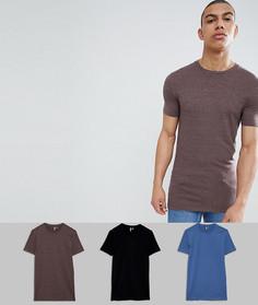 3 длинные обтягивающие футболки с круглым вырезом ASOS DESIGN - СКИДКА - Мульти
