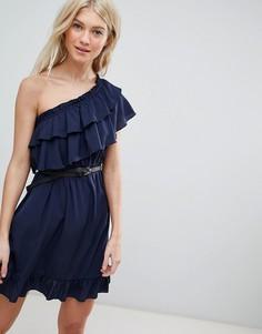 Платье на одно плечо с оборками Vero Moda - Темно-синий