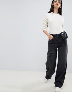 Черные джинсы в стиле милитари с кошельком на поясе ASOS DESIGN - Черный