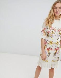 Премиум-платье мини с цветочной вышивкой Hope & Ivy - Бежевый