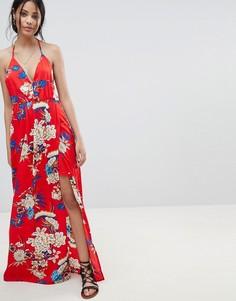 Платье макси на бретелях с цветочным принтом Parisian - Красный
