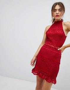 Кружевное платье с высоким воротом Parisian - Красный
