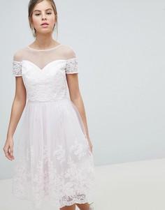 Кружевное платье миди для выпускного 2 в 1 Chi Chi London - Розовый