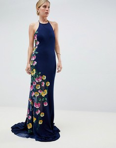 Платье макси с вышивкой сбоку Jovani - Синий