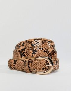 Ремень для джинсов со змеиным принтом Pieces - Коричневый