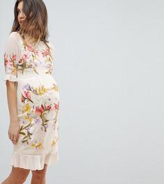 Платье мини с цветочной вышивкой Hope & Ivy Maternity Premium - Бежевый