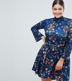 Короткое приталенное платье с рукавами клеш и цветочным принтом Club L Plus - Мульти