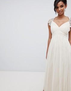 Платье макси с кружевом на спине Little Mistress - Кремовый