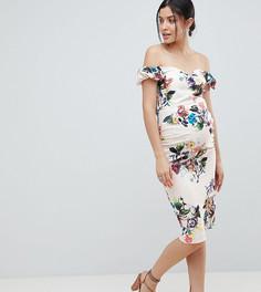 Платье-футляр с открытыми плечами и цветочным принтом Little Mistress Maternity - Кремовый