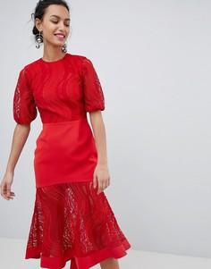 Кружевное платье миди рубинового красного цвета Keepsake - Красный