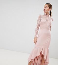 Платье макси с кружевным топом, длинными рукавами и оборкой City Goddess  Petite - Розовый 4c129e0ec75