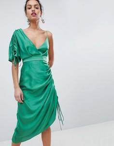 Платье миди с асимметричными плечами Keepsake - Зеленый