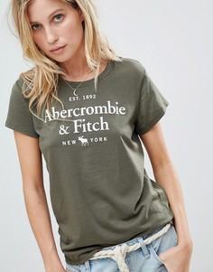 Футболка с вышитым логотипом Abercrombie & Fitch - Зеленый