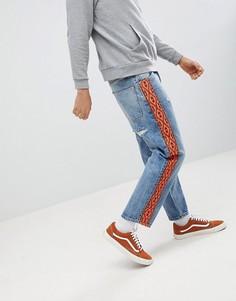 Выбеленные джинсы с полосками по бокам ASOS DESIGN - Синий