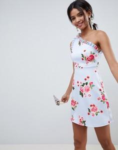 Платье мини А-силуэта на одно плечо с оборками и принтом ASOS DESIGN - Мульти