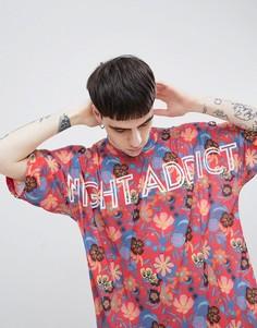 Oversize-футболка с принтом Night Addict - Красный