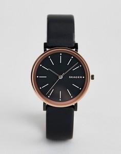 Часы с кожаным ремешком Skagen - Черный